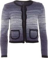Armani Jeans Womens Cardigan, Navy Blue Trim Ombre Jacket