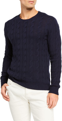 Ralph Lauren Purple Label Cashmere Cable-Knit Crewneck Sweater, Navy