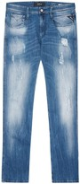 Replay Anbass Hyperflex Distressed Slim-leg Jeans