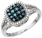Lord & Taylor 14Kt. White Gold and Blue-Green Diamond Ring