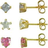 JCPenney FINE JEWELRY Girls 14K Gold Multicolor Cubic Zirconia 3-pr. Earring Set