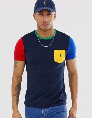 Polo Ralph Lauren player logo colourblock pocket t-shirt in navy