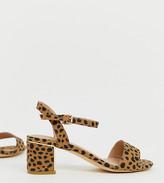 New Look Wide Fit low block heel in animal