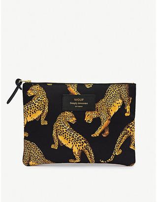 Selfridges Wouf Leopard-pattern zipped canvas bag 16.5cm x 21.5cm