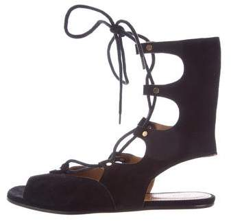 Chloé Suede Lace-Up Sandals