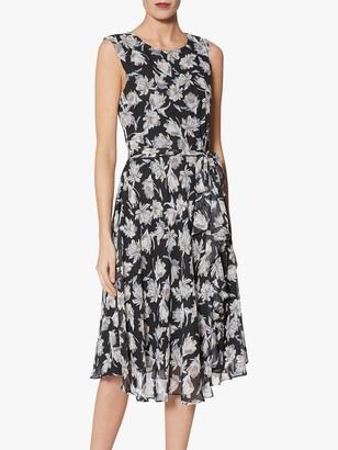 Gina Bacconi Shilah Print Midi Dress, Black/Grey