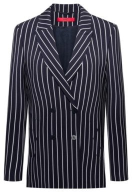 Regular-fit double-breasted jacket in striped fabric
