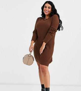 Brave Soul Plus mando sweater dress in brown