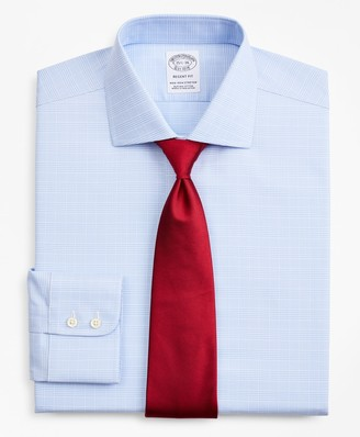 Brooks Brothers Stretch Regent Fitted Dress Shirt, Non-Iron Royal Oxford English Collar Glen Plaid