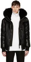 Mackage Ssense Exclusive Black Leather Down Glen Jacket