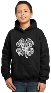 La Pop Art Boy's Word Art Hoodies - Feeling Lucky