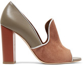 Malone Souliers Grace Metallic-trimmed Suede And Leather Pumps