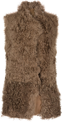 Gushlow & Cole Mixed Texture V Neck Shearling Gilet