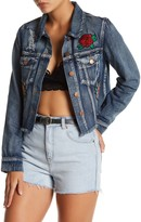 Flying Tomato Distressed Floral Patch Denim Jacket
