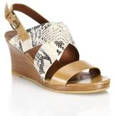 Cole Haan Penelope Leather & Snake-Embossed Wedge Sandals