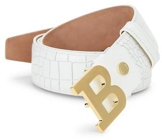 Bally B Buckle Croc-Embossed Leather Belt