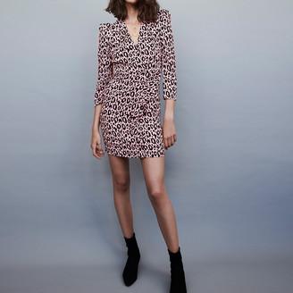 Maje Draped printed-jacquard dress