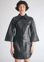 Ganni Women's Lamb Leather Dress in Black, Size 38