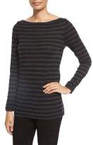 Eileen Fisher Striped Merino Wool Long-Sleeve Top, Charcoal/Black, Plus Size