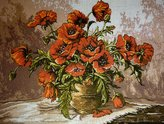 """Aidalux Needlepoint Kit """"Vase with Poppies"""" 15.7""""x11.8"""" 40x30cm printed canvas 146"""