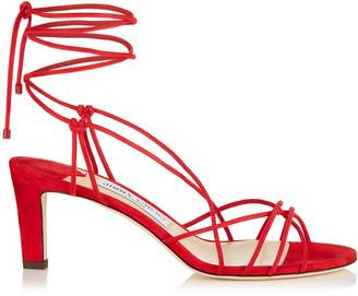 Jimmy Choo TAO 65 Red Suede Sandal with Spaghetti Straps