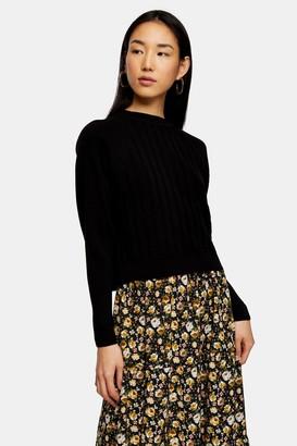 Topshop Black Knitted Raglan Ribbed Top
