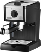 De'Longhi Pump driven espresso/cappuccino, manual frother, 35 oz removable water tank, three-in-one filter holder, stainless steel boiler, stainless accents