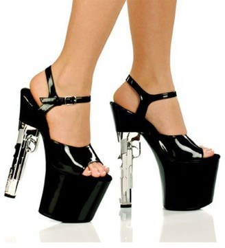 "The Highest Heel Magnum Series Sandals with Diamond Drilled Bottom and 7.5"" Gun-Look Heel"