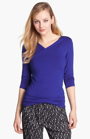 Vince Camuto High Wrap Side Ruched Top (Online Only)