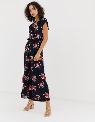 Vero Moda floral wrap jumpsuit-Navy