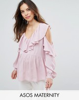 Asos Cold Shoulder Blouse with V-Neck and Ruffles