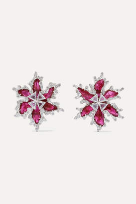 Bina Goenka 18-karat Gold, Diamond And Ruby Earrings - White gold