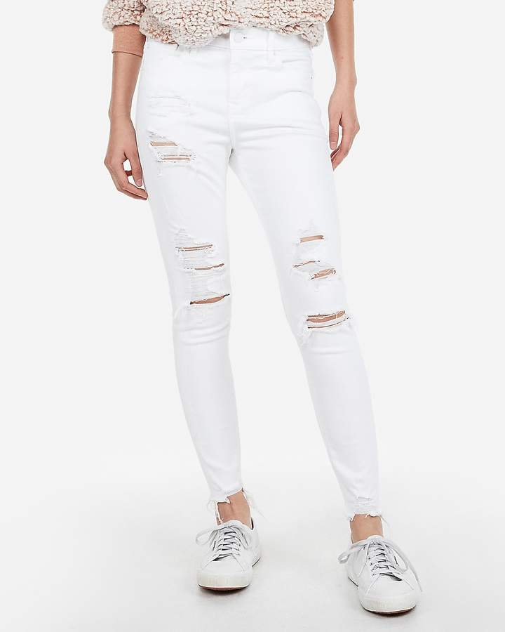 Express Mid Rise White Ripped Ankle Leggings