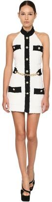 Balmain Tweed Mini Dress W/ Chain Detail