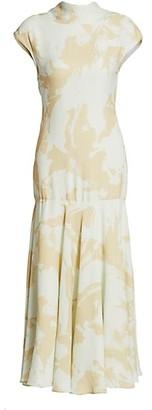Proenza Schouler Printed Georgette Cowlback Midi Dress