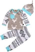 Hotone Newborn Baby Girls Boy Long Sleeve Tops T-shirt Pants Hat 3pcs Outfits Set (0-6 Months, )