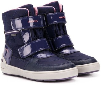 Geox Kids Touch Strap Patent Snow Boots