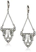 Yochi Silver-Plated Crystal Art Deco Drop Earrings