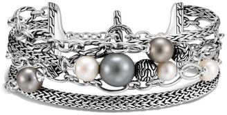 John Hardy Chain Classic Sterling Silver, 6-8MM Freshwater Pearl & 8-11MM Tahitian Pearl Multi-Row Bracelet