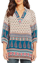 Tolani Nisha V-Neck 3/4 Sleeve Printed Tunic