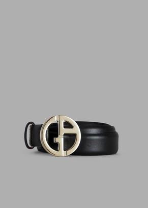 Giorgio Armani Grained Leather Belt With Ga Logo In Metal