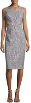 Jonathan Simkhai Sleeveless Printed Cutout Sheath Dress, Gray/White
