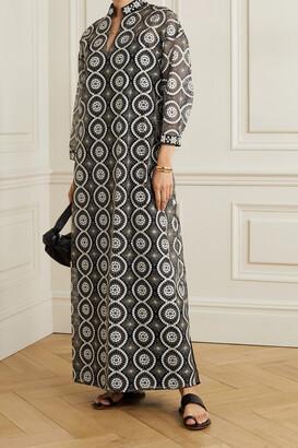 Tory Burch - Embellished Satin-trimmed Organza Maxi Dress - Black