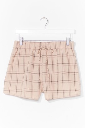 Nasty Gal Womens Get in Line Check Shorts - Beige - 8