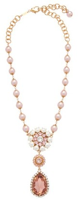 Dolce & Gabbana Crystal And Faux Pearl Drop Necklace - Pink