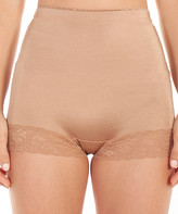 Ahh By Rhonda Shear Women's Underwear Dark - Dark Beige Lace-Trim Satin High-Waist Boyshort - Women & Plus