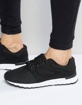 Pull&Bear Runner Sneakers In Black