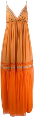 Alberta Ferretti Colour Block Tiered Silk Maxi Dress