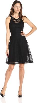 London Times Women's Macrame Bead Lace Full Skirt Dress