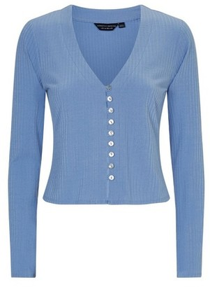 Dorothy Perkins Womens Blue Ribbed Cardigan, Blue